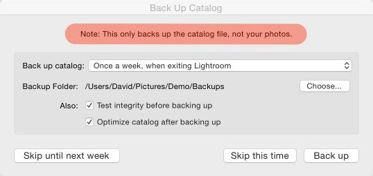 Lightroom Catalog Backup