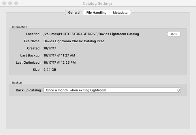 Adobe Photoshop Lightroom Classic Catalog Settings General Tab