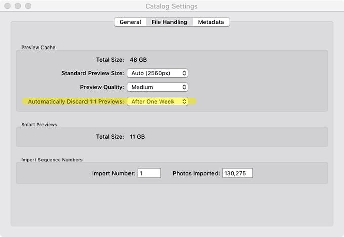 Adobe Photoshop Lightroom Classic Catalog Settings File Handling Tab