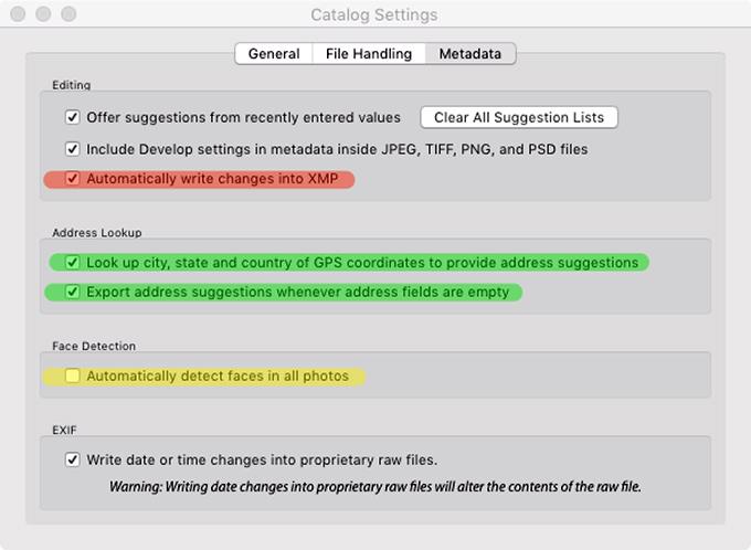 Adobe Photoshop Lightroom Classic Catalog Settings Metadata Tab