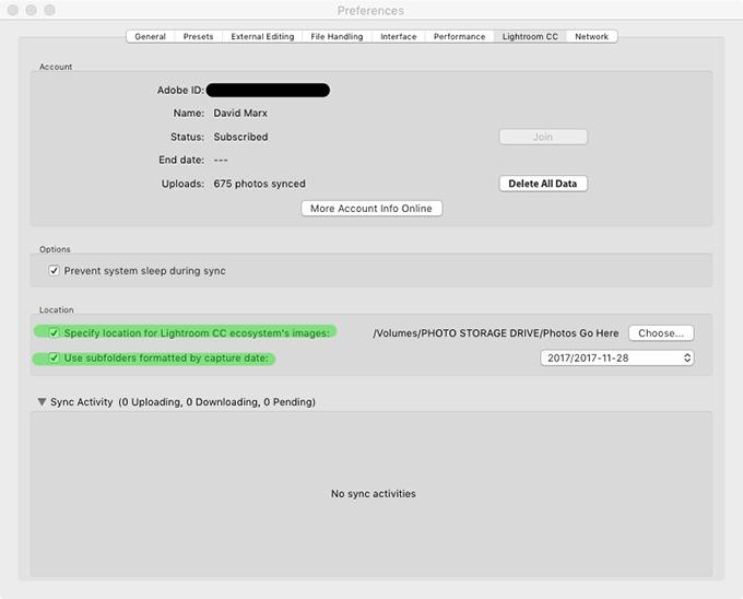 Adobe Photoshop Lightroom Classic Preferences Lightroom CC Tab