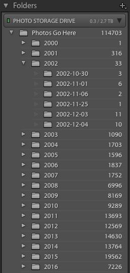 Adobe Photoshop Lightroom Folders Panel