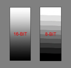 16 vs. 8-bit black and white chart
