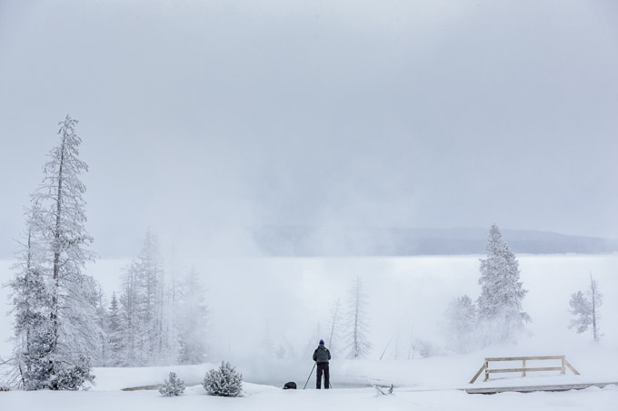 Photographer in Yellowstone Winter