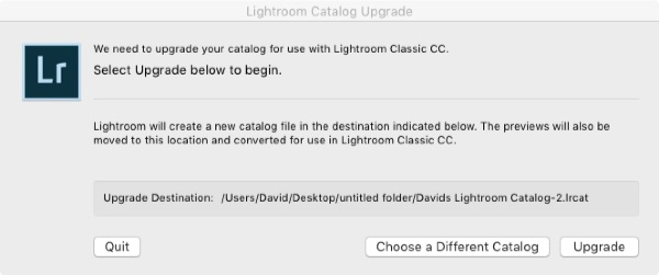 Adobe Photoshop Lightroom Catalog Upgrade Dialog