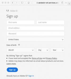 Create An Adobe ID Screen