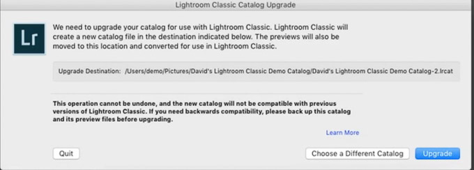 Adobe Photoshop Lightroom Classic Catalog Upgrade Dialog
