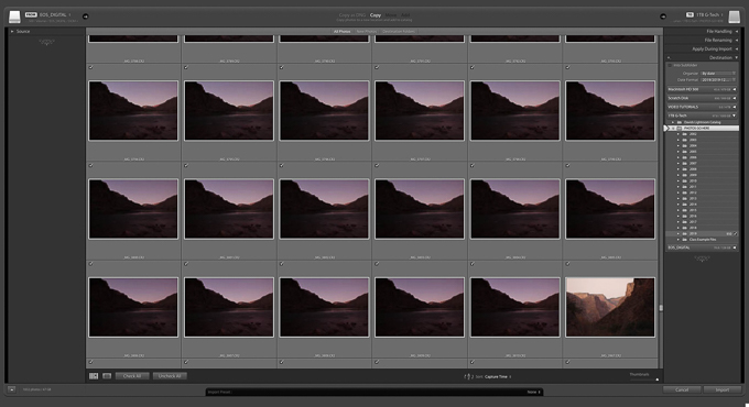 Adobe Photoshop Lightroom Classic Import Dialog
