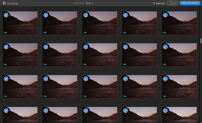 Adobe Lightroom Import Dialog