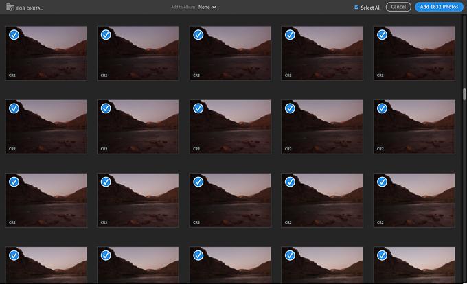 Adobe Lightroom Import Dialog