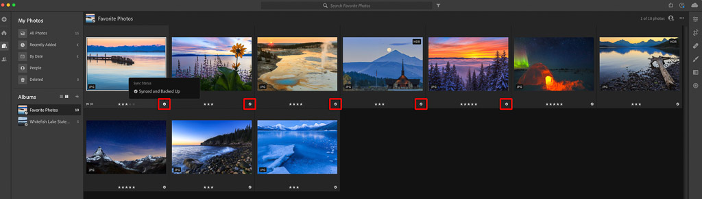 Adobe Lightroom Cloud-Based Synced and Backed Up Indicator