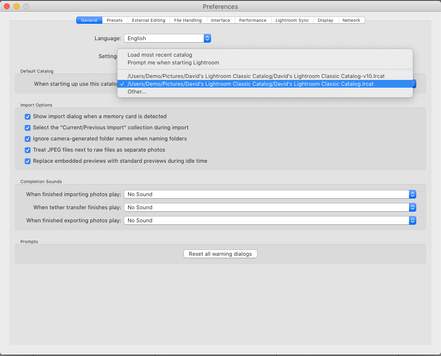 Adobe Photoshop Lightroom Classic v10 Default Catalog Preference Menu